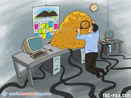 Debugging is like finding a needle in the haystack.  For more nerd humor and geek humor visit our programming comic at https://comic.browserling.com. New jokes, cartoons and comics about programmers every week!