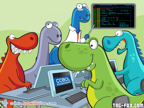COBOL programming class.  For more nerd humor and geek humor visit our programming comic at https://comic.browserling.com. New jokes, cartoons and comics about programmers every week!