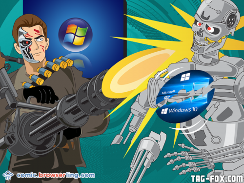 Why didn't The Terminator upgrade to Windows 10?... Because he still loves Vista, baby!  For more nerd humor and geek humor visit our programming comic at https://comic.browserling.com. New jokes, cartoons and comics about programmers every week!
