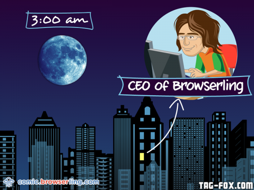 The only person awake at 3am.  For more nerd humor and geek humor visit our programming comic at https://comic.browserling.com. New jokes, cartoons and comics about programmers every week!