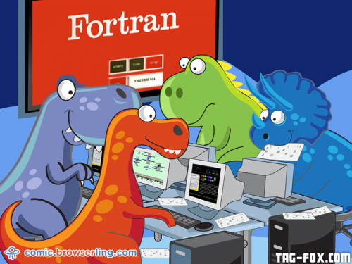 FORTRAN programming class.  For more nerd humor and geek humor visit our programming comic at https://comic.browserling.com. New jokes, cartoons and comics about programmers every week!