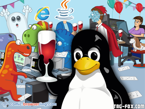 Happy 25th Birthday, Linux!  For more nerd humor and geek humor visit our programming comic at https://comic.browserling.com. New jokes, cartoons and comics about programmers every week!