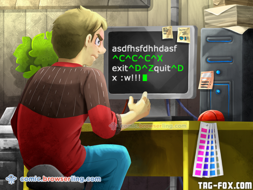 How do you generate a random string? ... Put a web designer in front of VIM and tell him to save and exit.  For more nerd humor and geek humor visit our programming comic at https://comic.browserling.com. New jokes, cartoons and comics about programmers every week!
