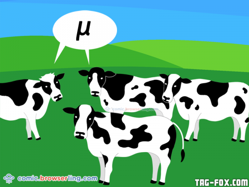 Greek cows say μ.  For more nerd humor and geek humor visit our programming comic at https://comic.browserling.com. New jokes, cartoons and comics about programmers every week!