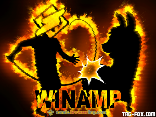 Winamp, it really whips the llama's ass!  For more nerd humor and geek humor visit our programming comic at https://comic.browserling.com. New jokes, cartoons and comics about programmers every week!