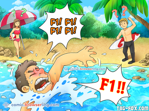 "Why did the system administrator drown?... Because he shouted ""F1! F1!"" and no one could understand him.  For more nerd humor and geek humor visit our programming comic at https://comic.browserling.com. New jokes, cartoons and comics about programmers every week!"